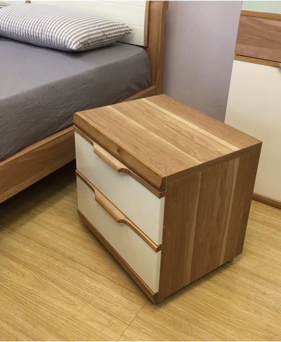 Agnes 2 Drawers Bedside Table, White Gloss/Light Rustic Ash