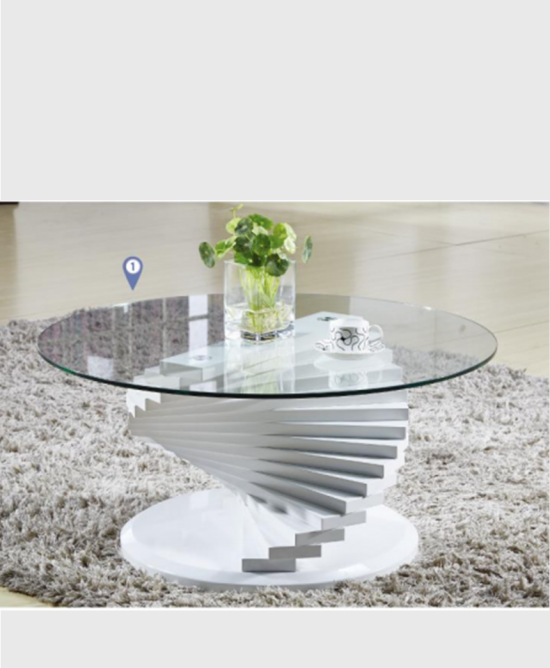 Spiral Glass Top Coffee Table Gloss White