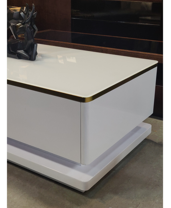 Alessandra W&G Coffee Table white gloss & glod stainless steel 120Lx60Dx42Hcm
