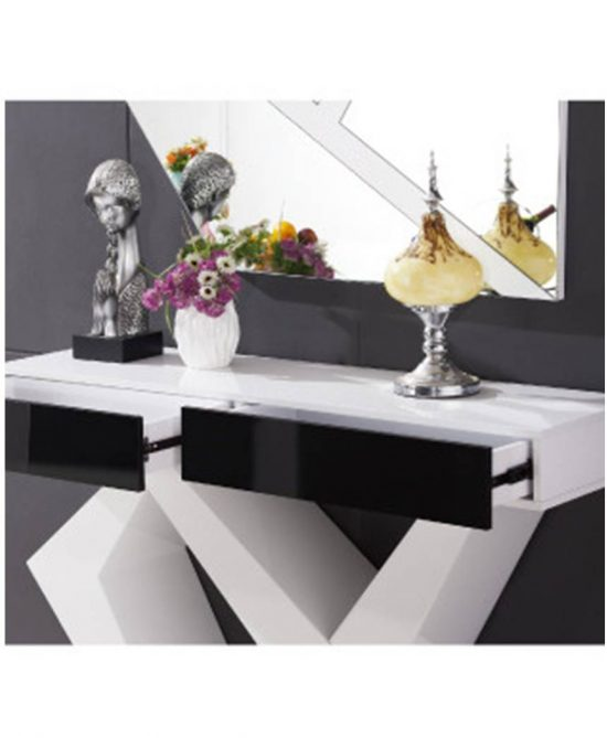 Coral storage console table white gloss with framed mirror